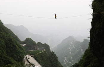 Slackline contest held in Zhangjiajie, C China's Hunan