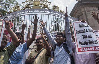 People protest against central government over high fuel prices in India
