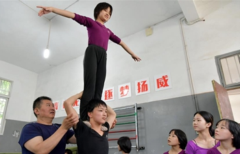 Children receive trainings for acrobatics in east China's Jiangxi