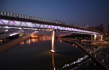 Night view of Fenhe River in Taiyuan, N China