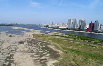 Aerial photos show dry riverbed of Songhua River in Harbin, NE China