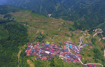 Aerial view of terrace fields in S China' Guangxi