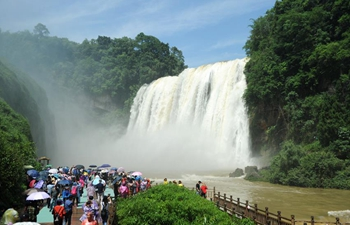Huangguoshu Waterfall in SW China enters into high flow period