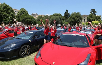 Exhibition of Ferrari cars held on Corfu island in Greece