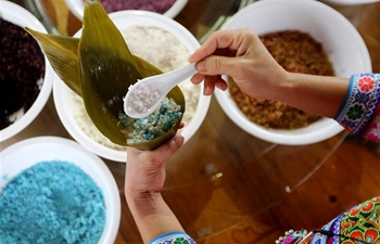 People make Zongzi to greet upcoming Dragon Boat Festival in China's Inner Mongolia