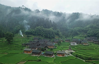 Aerial view of Rongjiang County in SW China's Guizhou