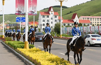 Female mounted patrol unit seen on duty in Arxan, N China's Inner Mongolia