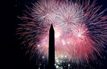 Fireworks displayed to celebrate U.S. Independence Day in Washington
