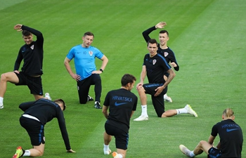 Players of Croatia attend training session in Moscow