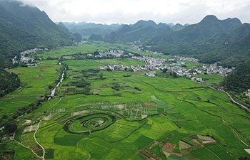 Aerial photo of Wanfenglin scenic spot in Xingyi, SW China's Guizhou