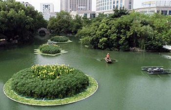 Artificial floating island set for water purification in east, southwest China