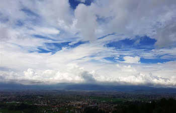 Monsoon clouds over Kathmandu valley