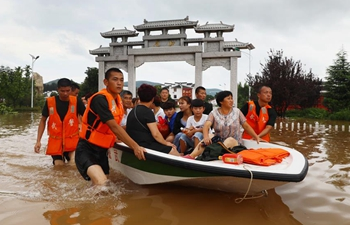 Huaibei inundated by flood due to Typhoon Rumbia in east China