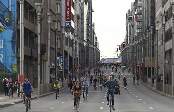 Annual car free day event held in downtown Brussels