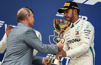 Lewis Hamilton of Mercedes wins Formula One Russian Grand Prix in Sochi