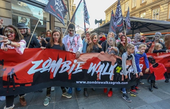 "People take part in ""Zombie Walk"" in Zagreb, Croatia"