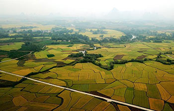 Autumn scenery of Chongshan Village in China's Guangxi