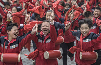Pupils learn folk arts in Yan'an, China's Shaanxi