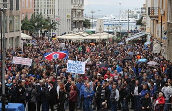 Croatian shipyard workers participate in strike march through central Rijeka, Croatia