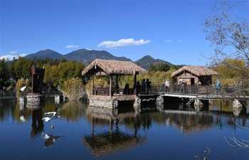 Tourists visit Lashihai wetland park in SW China's Yunnan