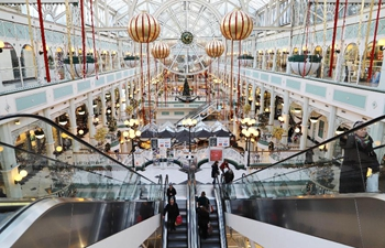 Christmas shopping season booms in downtown Dublin, Ireland