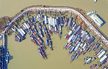 Aerial view of Hongze Lake in E China's Jiangsu