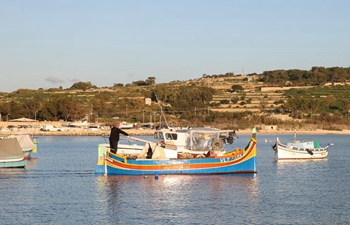 Luzzus seen in fishing village of Marsaxlokk, Malta