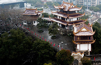 Snow-covered Tianxin pavilion in China's Hunan