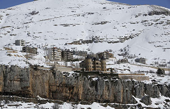 Snow-covered resort town Faraya in Lebanon