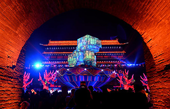 Highlights of light show on City Wall in Xi'an