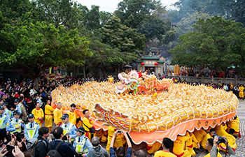Dragon dance performed in Macao to celebrate Lunar New Year