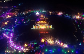 Lanterns light up temple fair in Fenyang, north China's Shanxi