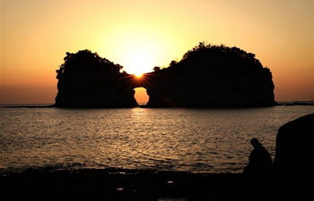 Sunset scenery of Japan's Engetsu Island