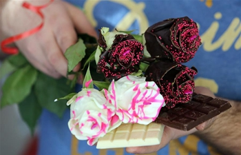 Chocolate-coated roses prepared for Valentine's Day in Croatia