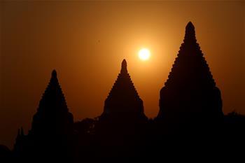 Hot air balloons seen on ancient city of Bagan, Myanmar