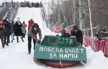 Competition of handmade sleds held in Moscow, Russia
