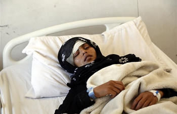 People injured from Saudi-led airstrike receive treatment at hospital in Yemen