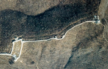 Aerial view of Jiuyanlou Great Wall in Yanqing District of Beijing