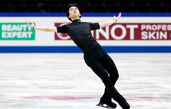 Yuzuru Hanyu of Japan takes part in training session for 2019 ISU World Figure Skating Championships