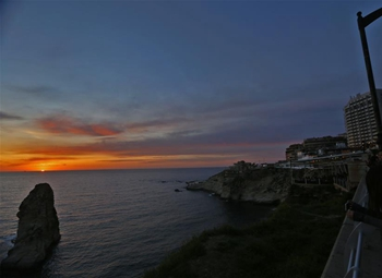 Sunset seen at Raouche Rocks in Beirut, Lebanon