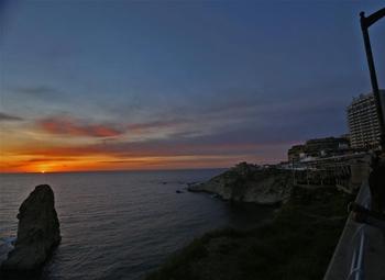 Sunset seen at Raouche Rocks in Beirut, Lebanon