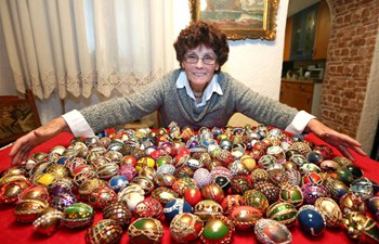 Easter egg decoration artist Vera Trojan shows works in Sibenik, Croatia