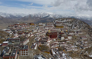 Aerial view of Gandan Temple in China's Tibet