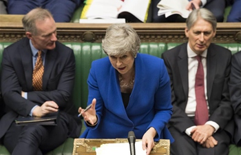 Theresa May attends PM's Questions at House of Commons in London