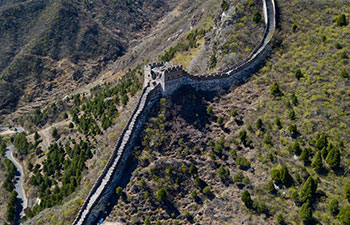 Aerial view of Great Wall in Beijing Xiangshuihu scenic area