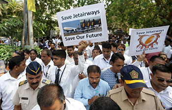 India Jet Airways employees hold protest in Mumbai