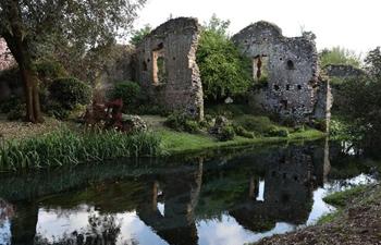 Views of Garden of Ninfa in Cisterna, central Italy