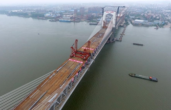Highway-railway bridge over Yangtze River completes construction in Wuhu,China's Anhui