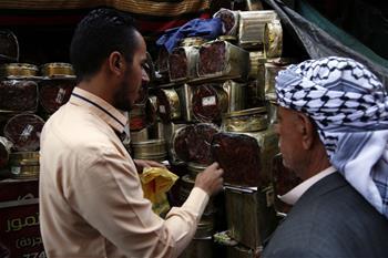 Dates displayed at market in Sanaa, Yemen