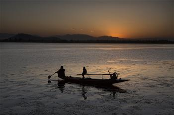 Sunset scenery in Srinagar city, Indian-controlled Kashmir